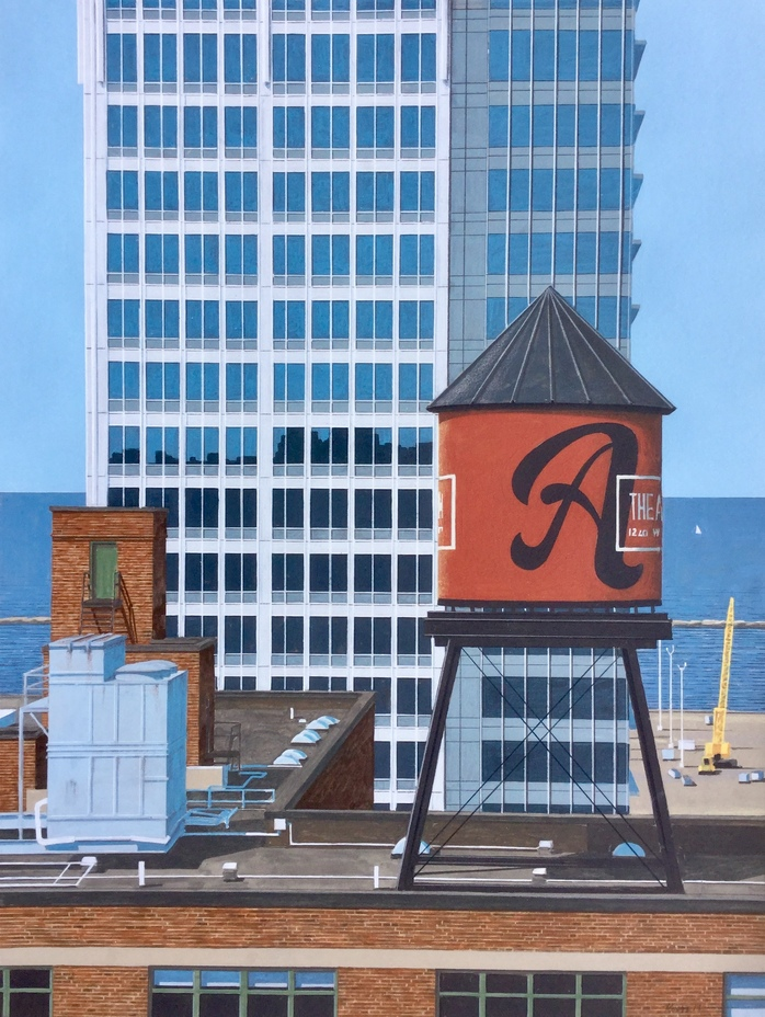 CLE SERIES: WATERTOWER W/LAKE AND SAILBOAT