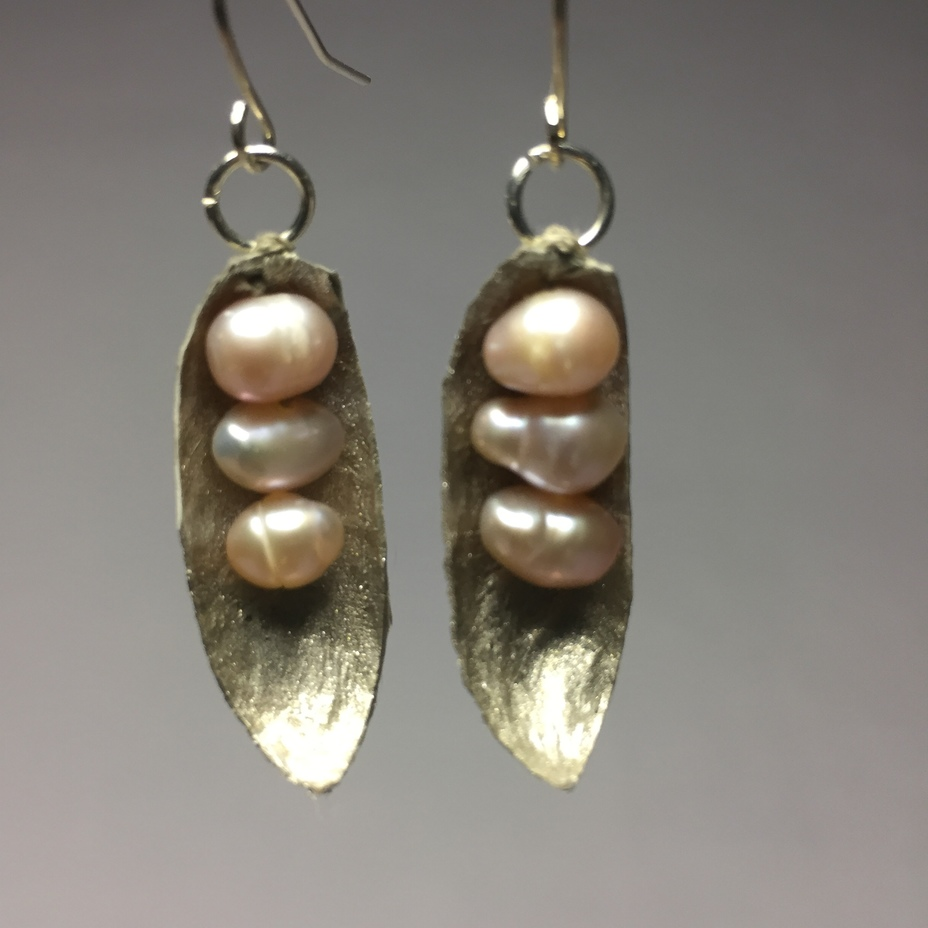 Silk cocoon earrings.