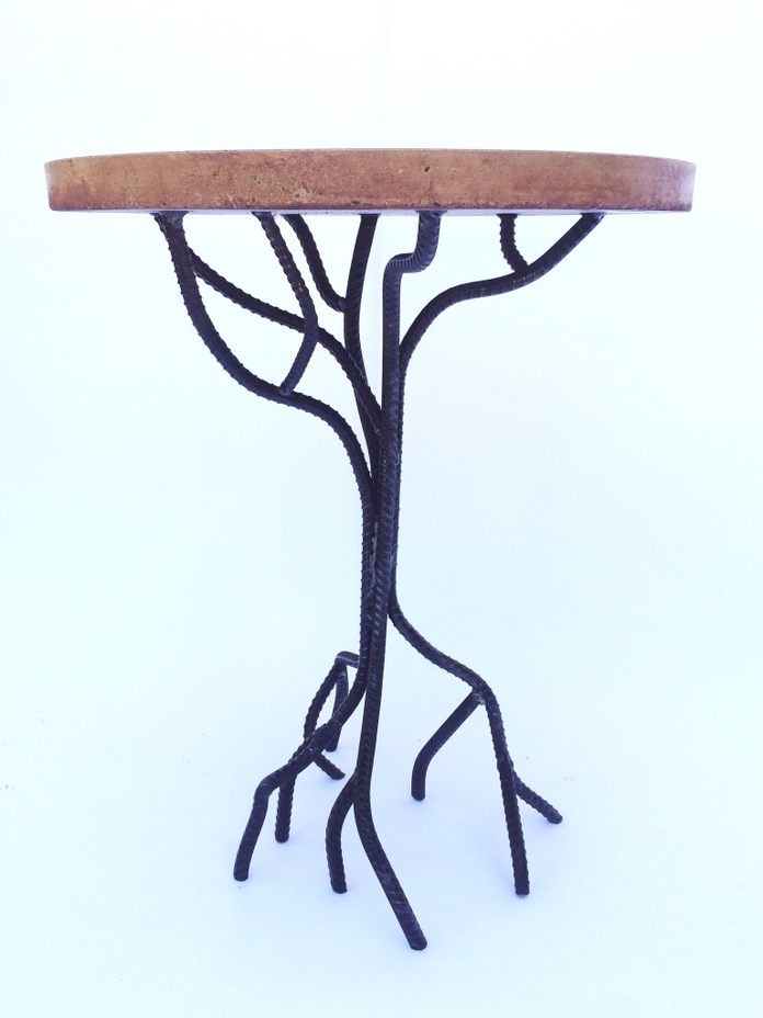 upcycled rebar tree base table with concrete top