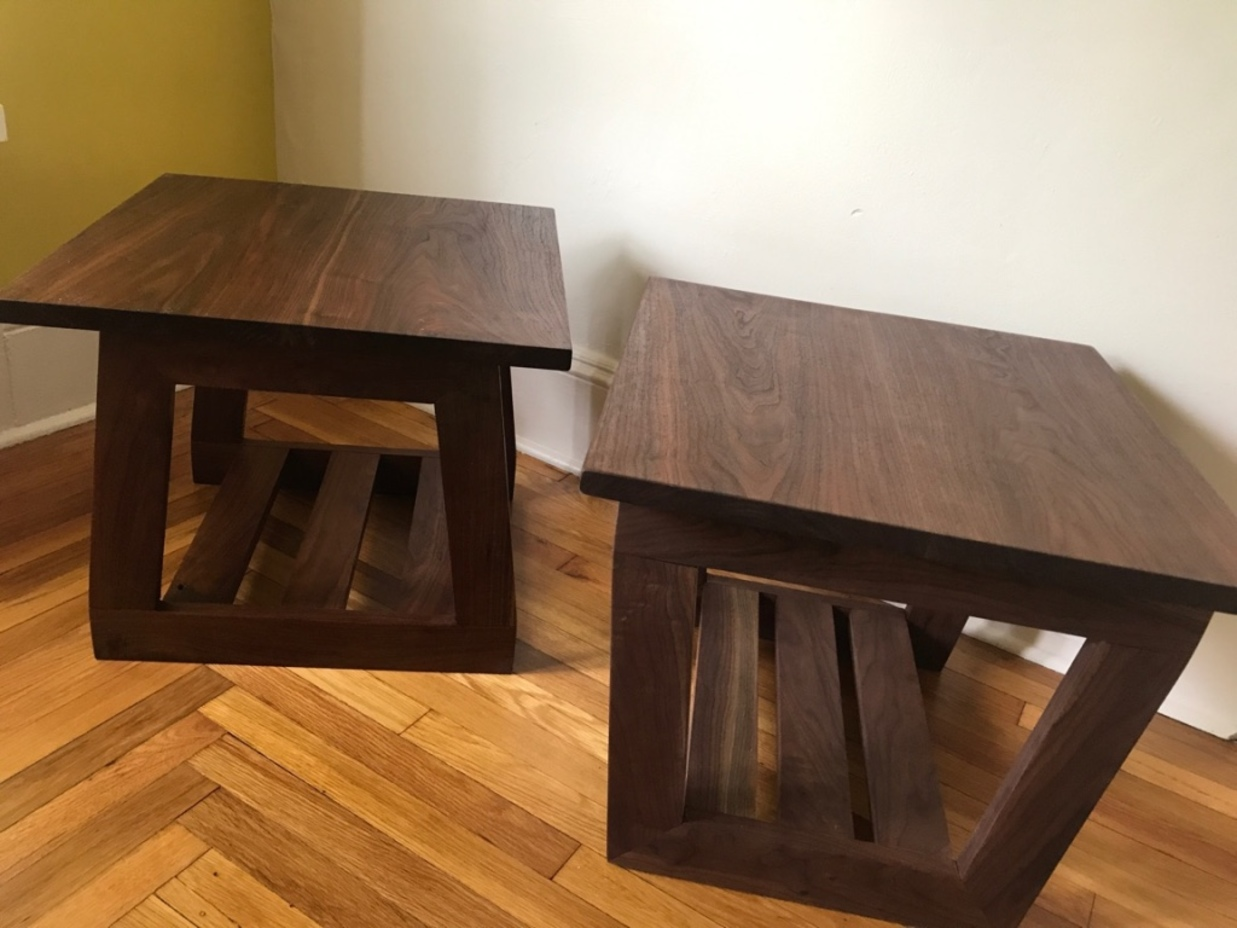 locally sourced black walnut side tables