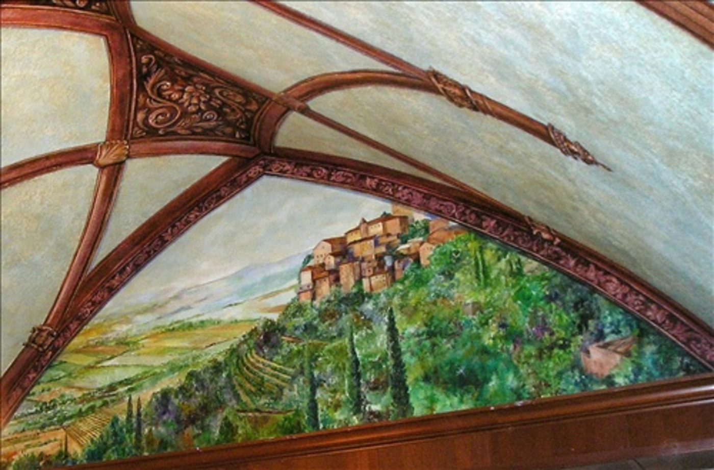 Umbria  Mural with Painted Wood Molding